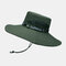 Mens Bucket Hat Outdoor Fishing Hat Climbing Mesh Breathable Sunshade Cap Oversized Brim With String - Army Green