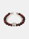 Punk Alloy Frosted Stone Chain Bracelet - #07