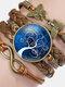 Vintage Tree Of Life Theme Pattern Butterfly Geometric Shape Hand-braided Glass PU Alloy Multi-layer Bracelet - #05
