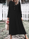 Casual Solid Color O-neck Long Sleeve Plus Size Button Dress - Black