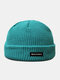 Unisex Acrylic Knitted Solid Color Letter Pattern Cloth Label Fashion Warmth Skull Cap Beanie Hat - Lake Blue