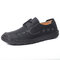 Menico Men Hand Stitching Cow Leather Non Slip Soft Casual Shoes - Black