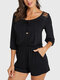 Solid Color Lace Knotted Pocket Three-quarters Sleeve Casual Rompers - Black