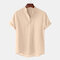 Plus Size Mens Breathable Linen Stand Collar Short Sleeve Solid Henley Shirt - Khaki