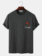 Mens Embroidered Rose Knit Crew Neck Casual Short Sleeve T-Shirts - Gray