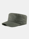 Men Cotton Stitching Letter Metal Label Casual Sunscreen Military Cap Flat Cap - Army Green