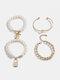 Hip Hop Lock Bracelet Metal Geometric OT Buckle Pearl Bracelet Set - Gold