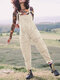 Casual Solid Corduroy Sleeveless Harem Jumpsuit For Women - Beige