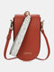 Casual Flower Print Pattern Wrist Band Stitch Detail Multi-slots Flap Magnetic Button 6.8 Inch Phone Bag Clutch Bag - Red Brown
