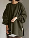 Solid Color Slit Long Sleeve Casual Blouse for Women - Army green