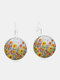 Vintage Geometric Round Alloy Glass Many Floral Pattern Print Earrings - Bronze