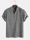 メンズストライプ半袖ハーフボタンコットンカジュアルヘンリーシャツ - 黒