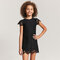 Solid Color Girls Short Sleeve Lace Dress For 3-11Y