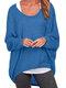 Casual Asymmetrical Solid Color Plus Size Blouse for Women - Blue