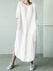 ソリッドカラーのハーフスリーブカジュアルプラスサイズのマキシドレス - オフホワイト