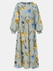 Floral Print O-neck Lantern Sleeve Plus Size Casual Dress for Women - Green