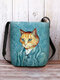 Women Cat Pattern Print Crossbody Bag Shoulder Bag - Blue