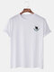Mens Planet Chest Print Crew Neck Cotton Short Sleeve Casual T-Shirts - White
