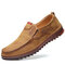 Men Comfy Microfiber Soft Sole Slip On Casual Leather Driving Shoes - Brown