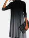 Gradient Color High Collar Long Sleeve Casual Dress - Gray