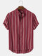 Mens Stripe Curved Hem Short Sleeve 100% Cotton Casual Henley Shirts - Red