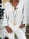 Langärmlige, einfarbige, lose Bluse mit V-Ausschnitt für Damen - Weiß