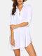 Robe de plage à ourlet haut-bas pour femme - blanc