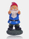1PC Resin Provocation Gnome Dwarf White Beard Statues Raise Middle Finger Lawn Decorations Indoor Outdoor Christmas Garden Ornament - #01