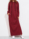 Solid Color Long Sleeves Casual Hooded Maxi Dress - Wine Red