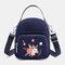 Women Nylon Waterproof Embroidery Casual Shoulder Bag Handbag - Navy Blue