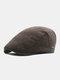 Men Plaid Pattern Adjustable Casual Flat Hat Forward Hat Beret Hat - Coffee