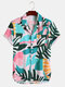 Mens Colorful Leaf Print Revere Collar Holiday Short Sleeve Shirts - Multi Color