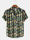 Mens All Over Pineapple Print Revere Collar Holiday Short Sleeve Shirts - Navy