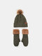 Women 2PCS Wool Plus Thicken Warm Winter Outdoor Knitted Gloves Knitted Hat With Fur Ball - Green