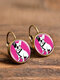 Vintage Round Glass Pendant Earrings Animal Pattern Cats Dogs Women Earrings - #14