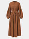 Ethnic Lace Patchwork Button Knotted Puff Sleeve Maxi Dress For Women - Brown