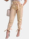 Plain Bowknot Tie Front High Waist Pants with Pocket - Apricot