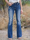 Solid Color Ripped Pockets Casual Jeans For Women - Blue