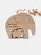 Cadeaux commémoratifs fête des mères bébé anniversaire lettrage en bois éléphants famille artisanat ornements Homde bureau Docor - #04