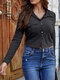 Solid Color Knitted Button Long Sleeve Casual Blouse for Women - Dark Gray