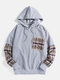 Mens Plaid Patchwork Corduroy Daily Chest Pocket Hoodie - Gray