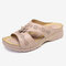 LOSTISY Women Hollow Out Comfy Wearable Wedges Slippers - Pink