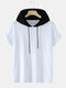 Mens Two Tone Cotton Casual Short Sleeve Drawstring Hooded T-Shirts - White