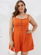 Solid Color Sleeveless Button Plus Size Shorts Jumpsuit for Women - Orange