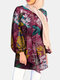 Ethnic Leaf Print Puff Sleeves Casual Blouse For Women - Red