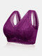 Women Floral Lace Wireless Full Cup Lightly Lined Back Closure Bra - Purple