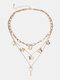 Vintage Alloy Butterfly Multilayer Key Chain Necklace - Gold