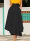 تنورة سادة اللون بأربطة بسحاب جانبي غير متناظرة - أسود