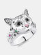 Vintage Animal Women Ring Cat Head Colored Star Ring Jewelry Gift - Silver