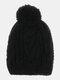मेन प्लेन कलर वॉर्म विंडप्रूफ वूल बिग हेयर बॉल कैप बुना हुआ हैट रखें - काली